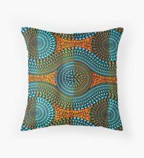 African motif, wax, orange, blue, turquoise Floor Pillow