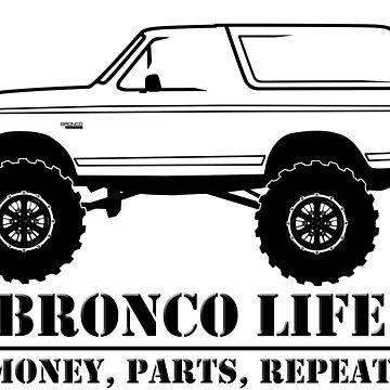 1992-1996 Bronco Money, Parts, Repeat Black Print by TheOBSApparel