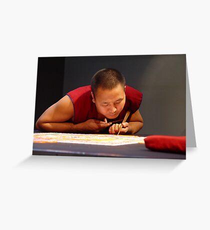 Tibetan monk creating sand mandala Greeting Card