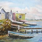 Fishing shacks, Kororoit Creek, Williamstown by Virginia  Coghill
