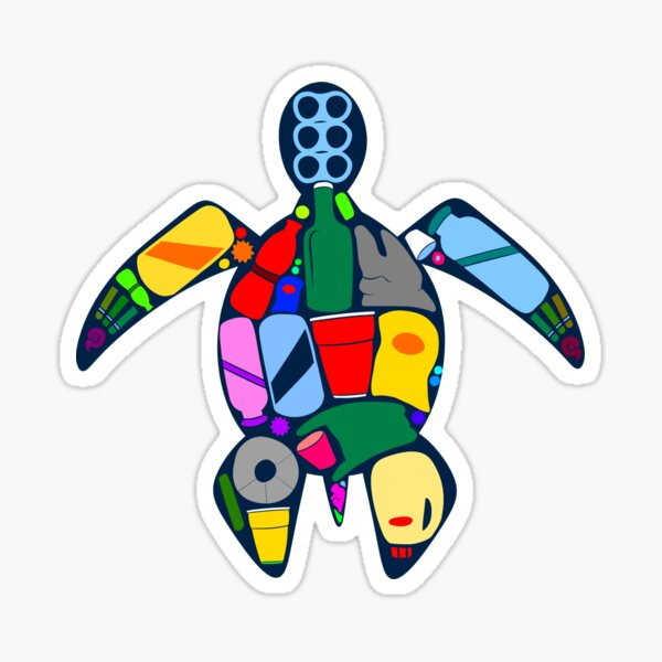 Turtle- ocean plastics Sticker