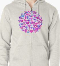 Watercolor romantic design on violet Zipped Hoodie