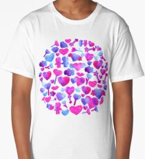 Watercolor romantic design on violet Long T-Shirt