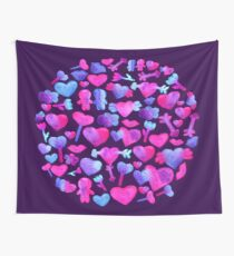 Watercolor romantic design on violet Wall Tapestry