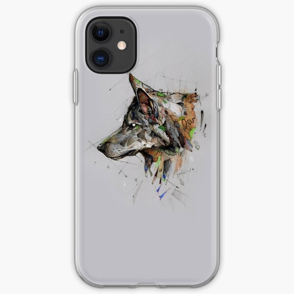 wolf watercolor psdelux iPhone Soft Case