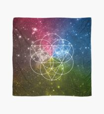Seed of Life with Triangles - Sacred Geometry - Rainbow Colors - Galaxy Art - Universe - Yoga - Scarf