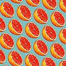 Grapefruit Pattern - Blue by Kelly  Gilleran