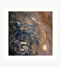 Swirling Clouds of Planet Jupiter Close Up from Juno Cam Art Print