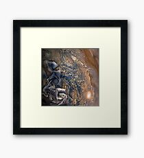 Swirling Clouds of Planet Jupiter Close Up from Juno Cam Framed Print