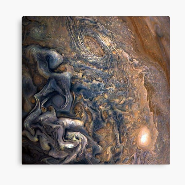 Swirling Clouds of Planet Jupiter Close Up from Juno Cam Canvas Print