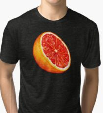 Grapefruit Pattern - Black Tri-blend T-Shirt
