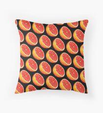 Grapefruit Pattern - Black Throw Pillow