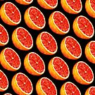 Grapefruit Pattern - Black by Kelly  Gilleran