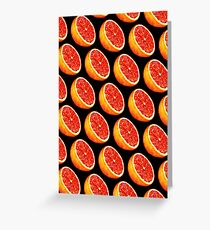 Grapefruit Pattern - Black Greeting Card