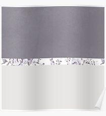 mauve floral gray Poster
