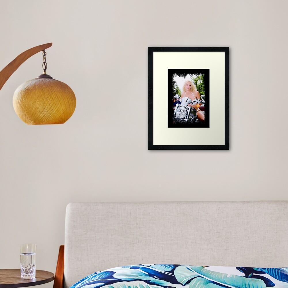 Bikes and Babes Framed Art Print