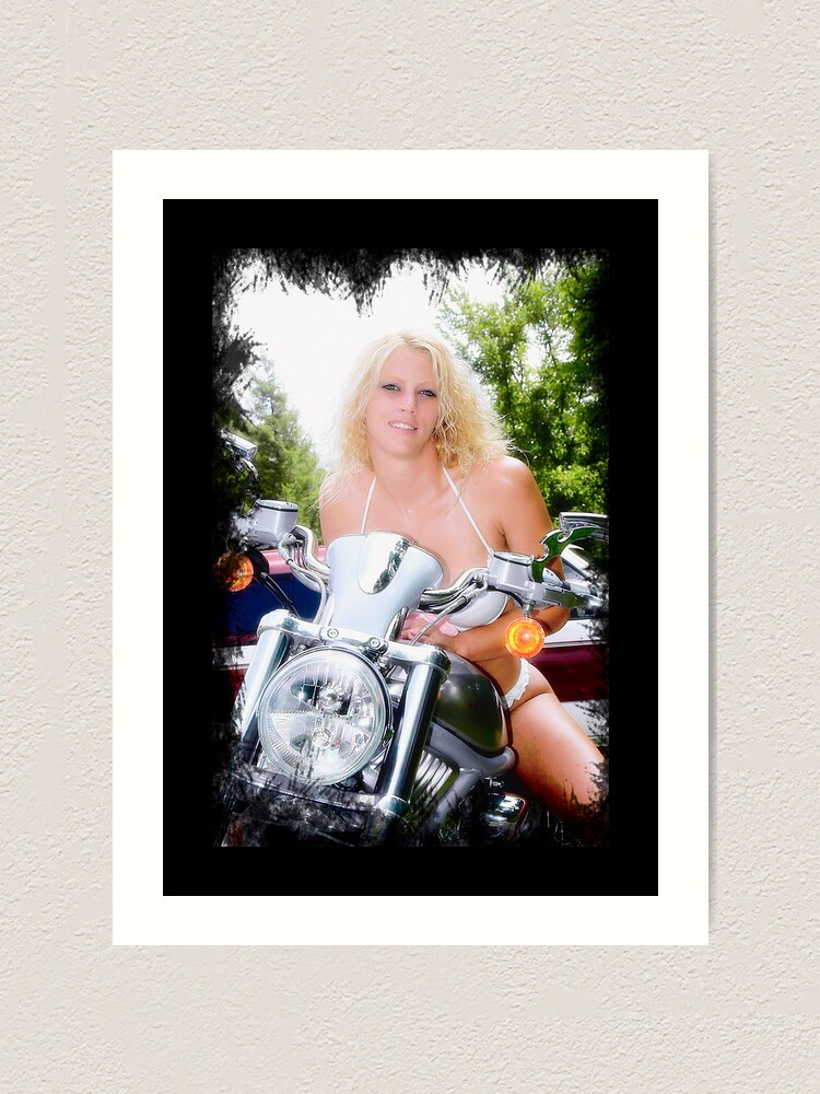 Alternate view of Bikes and Babes Art Print