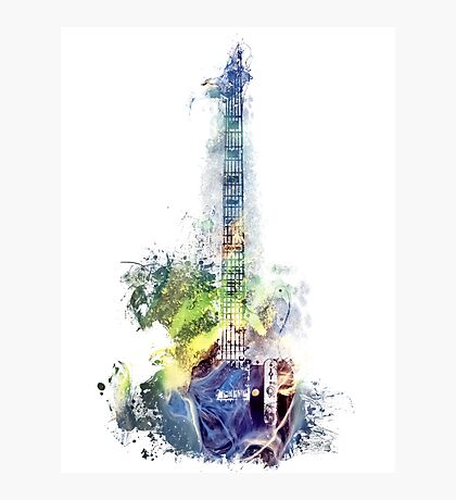Electric guitar watercolor blue yellow Photographic Print