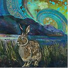 Crouching Hare Embroidery - Textile Art by Rachel Wright