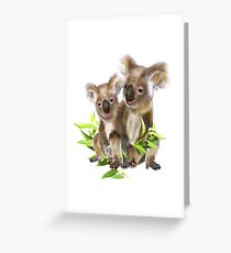 Cute Little Koala Bear Animal Art Greeting Card