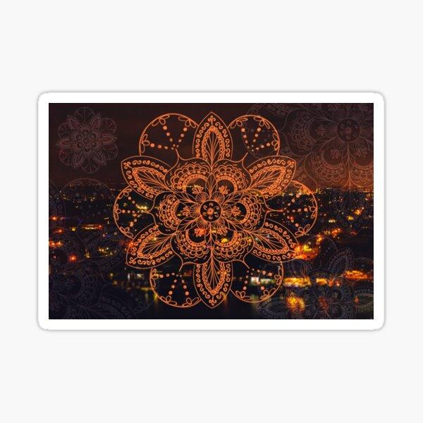 Orange mandala flower on tilt-shifted Gold Coast night lights photo Sticker