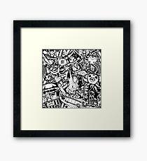 Crazy New York black and white pattern Framed Print