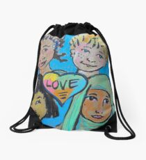 LOVE is All of Us Drawstring Bag