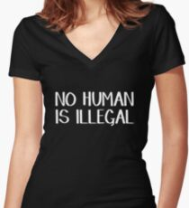 No human is illegal Women's Fitted V-Neck T-Shirt
