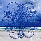 Blue mandala flower on Bondi Beach by faithie