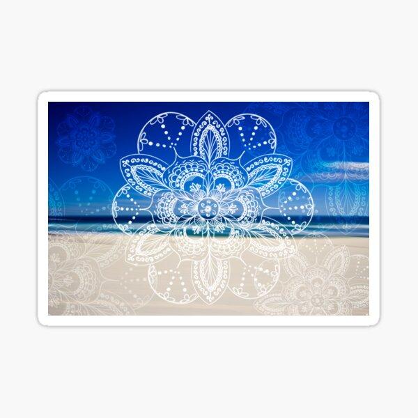 White mandala flower on Bondi Beach  Sticker
