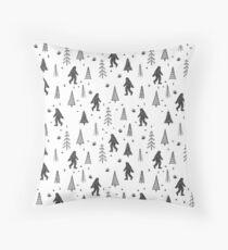 trees + yeti pattern Throw Pillow