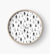 trees + yeti pattern Clock