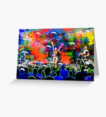Colorful musical concert of the famous pop star with spectators and musicians Greeting Card
