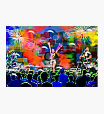 Colorful musical concert of the famous pop star with spectators and musicians Photographic Print