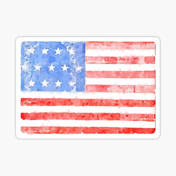 Watercolor American Flag Sticker