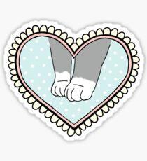 Valentine's Cat Lacy Heart Sticker Sticker