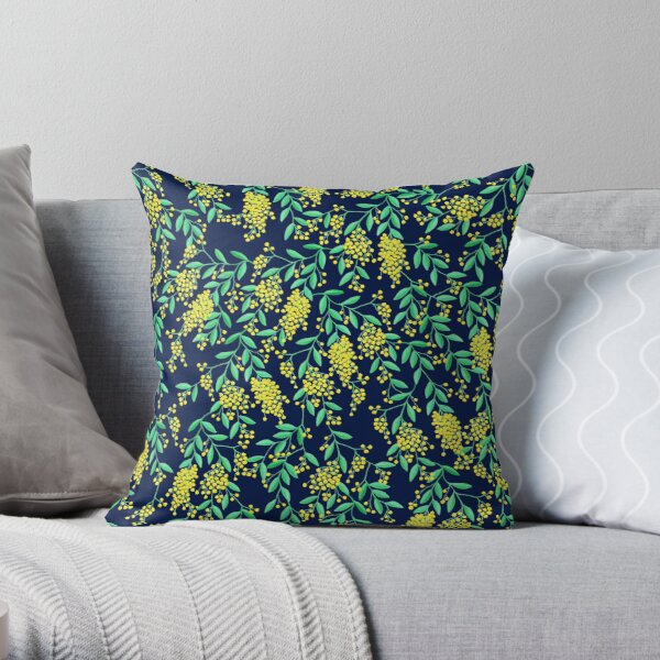 Golden Wattle - Navy Throw Pillow