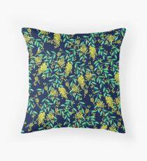 Golden Wattle - Navy Throw Pillow