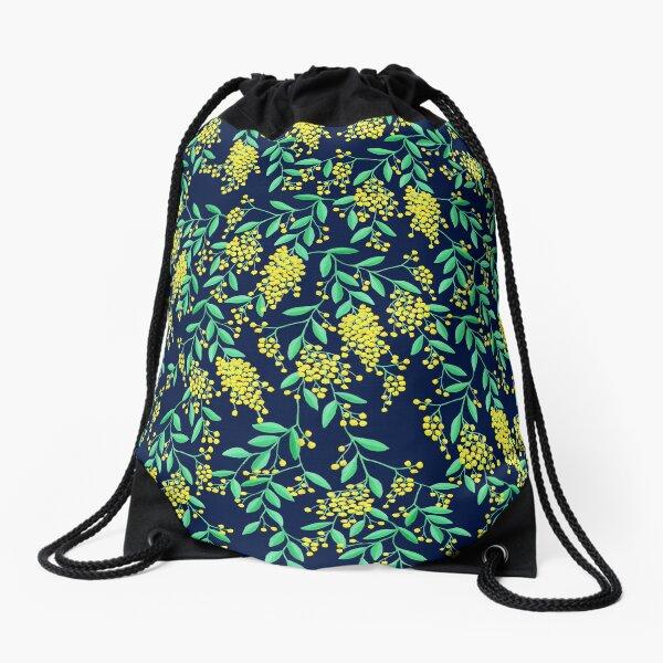 Golden Wattle - Navy Drawstring Bag