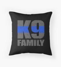 K9 Family Thin Blue Line Throw Pillow