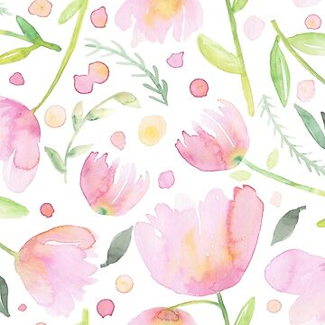 Soft Pink Watercolor Flowers by noondaydesign