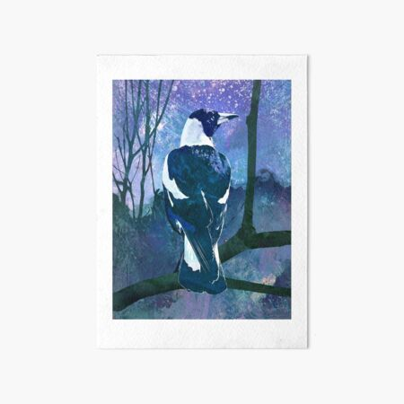 Moonlit Magpie Art Board Print