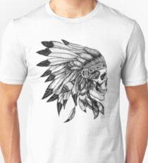 Skull Indian Headdress Chief  Unisex T-Shirt