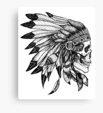 Skull Indian Headdress Chief  Canvas Print