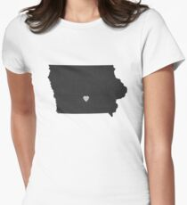 Iowa Love in Charcoal Women's Fitted T-Shirt