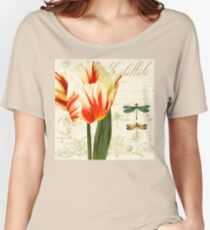 Labelliele Natural History Sketchbook II Botanical study dragon flies, tulip Women's Relaxed Fit T-Shirt