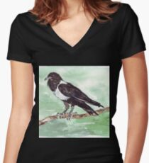 Domino, the Pied Crow (Corvus albus) Women's Fitted V-Neck T-Shirt