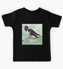 Domino, the Pied Crow (Corvus albus) Kids Tee
