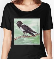 Domino, the Pied Crow (Corvus albus) Women's Relaxed Fit T-Shirt