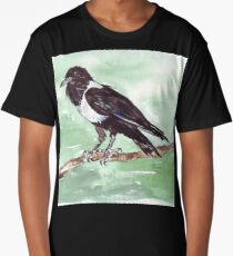 Domino, the Pied Crow (Corvus albus) Long T-Shirt